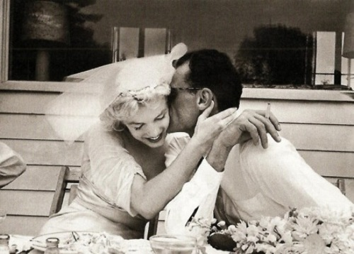 Marilyn pictured with her third husband Arthur Miller on their wedding day 29 June 1956