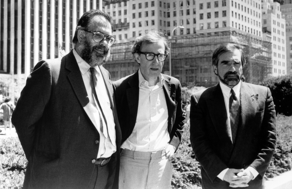 Martin Scorsese stands next to filmmakers Francis Ford Coppola and Woody Allen for New York Stories (1989).