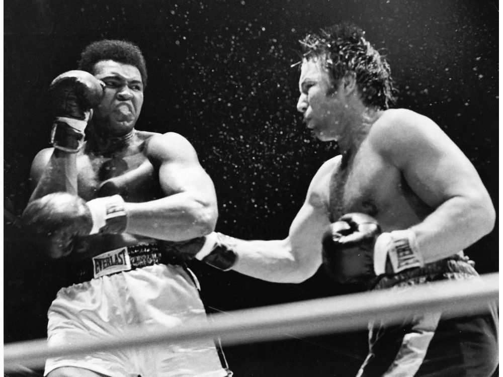 Canadian heavyweight champion George Chuvalo takes on Muhammad Ali in a 12-round bout at Pacific Coliseum in 1972. Ali told Bower that Chuvalo was the toughest challenger he ever fought.