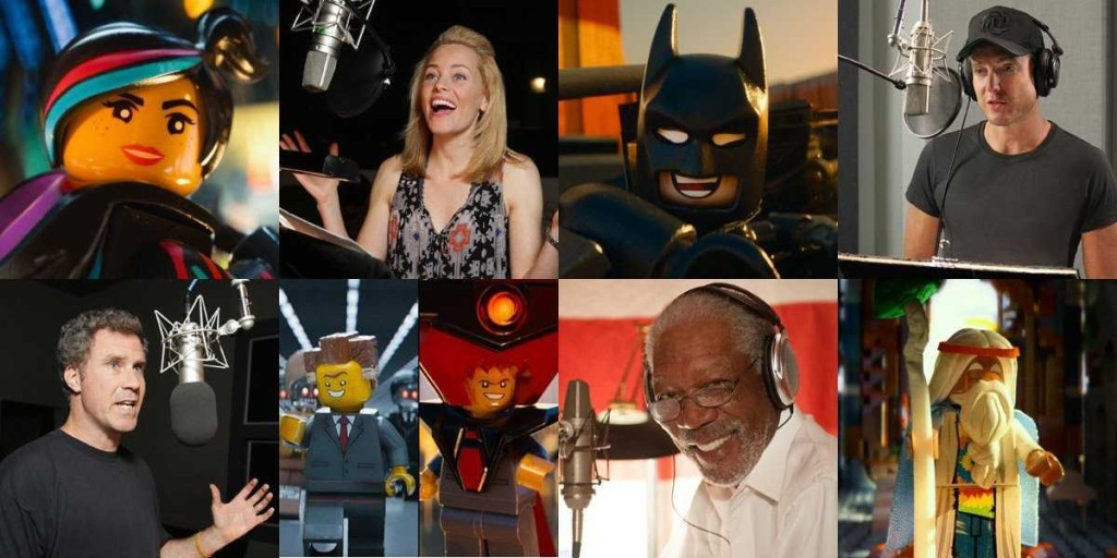 (First row: Elizabeth Banks as Wildstyle, Will Arnett as Batman. Second row: Will Ferrell as President/Lord Business, Morgan Freeman as Vitruvius.)