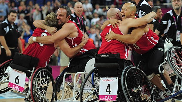 Canadian wheelchair basketball star David Eng, shown in this file photo at right, is featured in a video released one year out from the start of the 2015 Parapan American Games, held in Toronto. (Shaun Botterill/Getty Images)