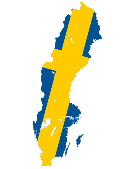 Sweden-flag-map